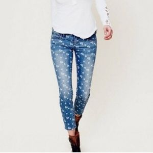 Free People Ditsy floral jeans 27 Crop ankle